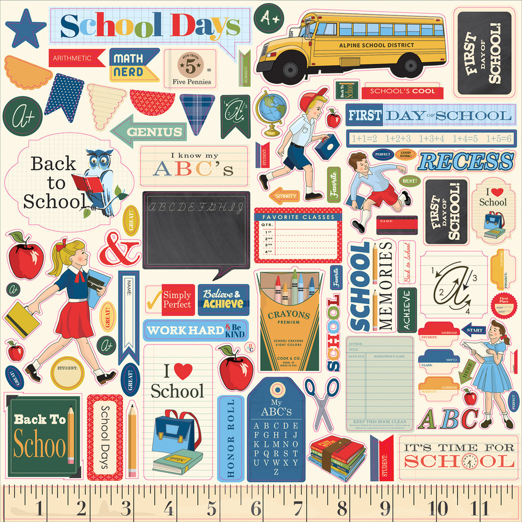 Carta Bella - Cardstock Stickers 12x12 - School Days (DS118014)