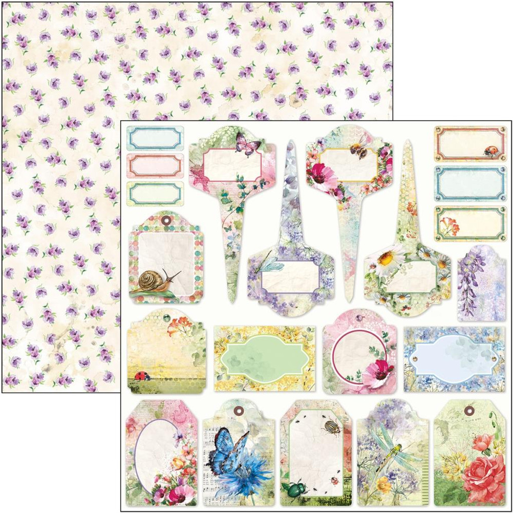 Ciao Bella - Double Sided Paper 12x12 - Microcosmos - Tags (CBSS123)