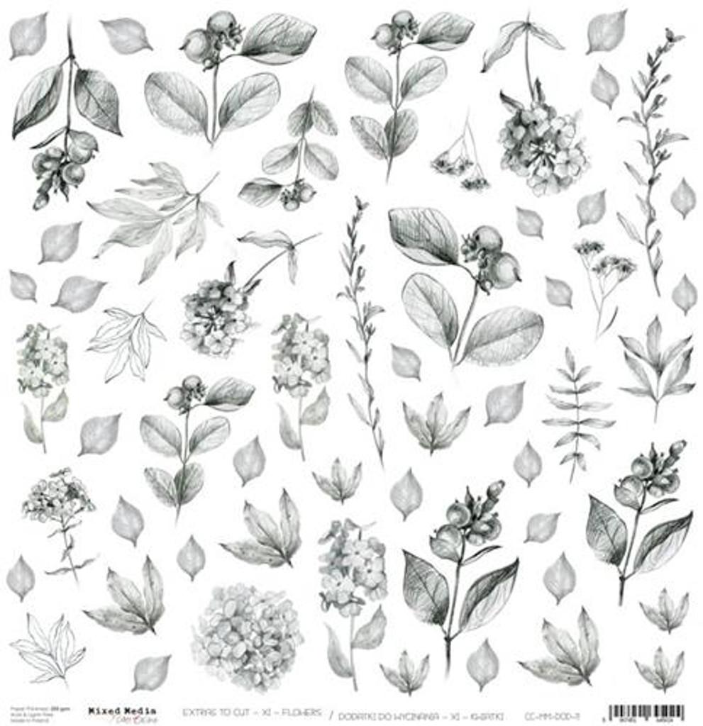 Craft O Clock - 12x12 Mixed Media Ephemera cut out sheet 2 - Flowers (CC-MM-DOD-11)