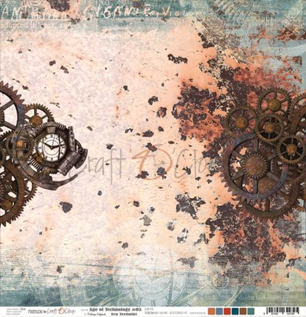 Craft O'Clock -Double Sided Paper 12x12 - Age of Technology - 05 Gears/White (CC-AT-F7-05)