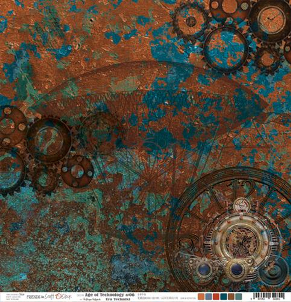 Craft O'Clock -Double Sided Paper 12x12 - Age of Technology - 06 Gears/Blue (CC-AT-F7-06)