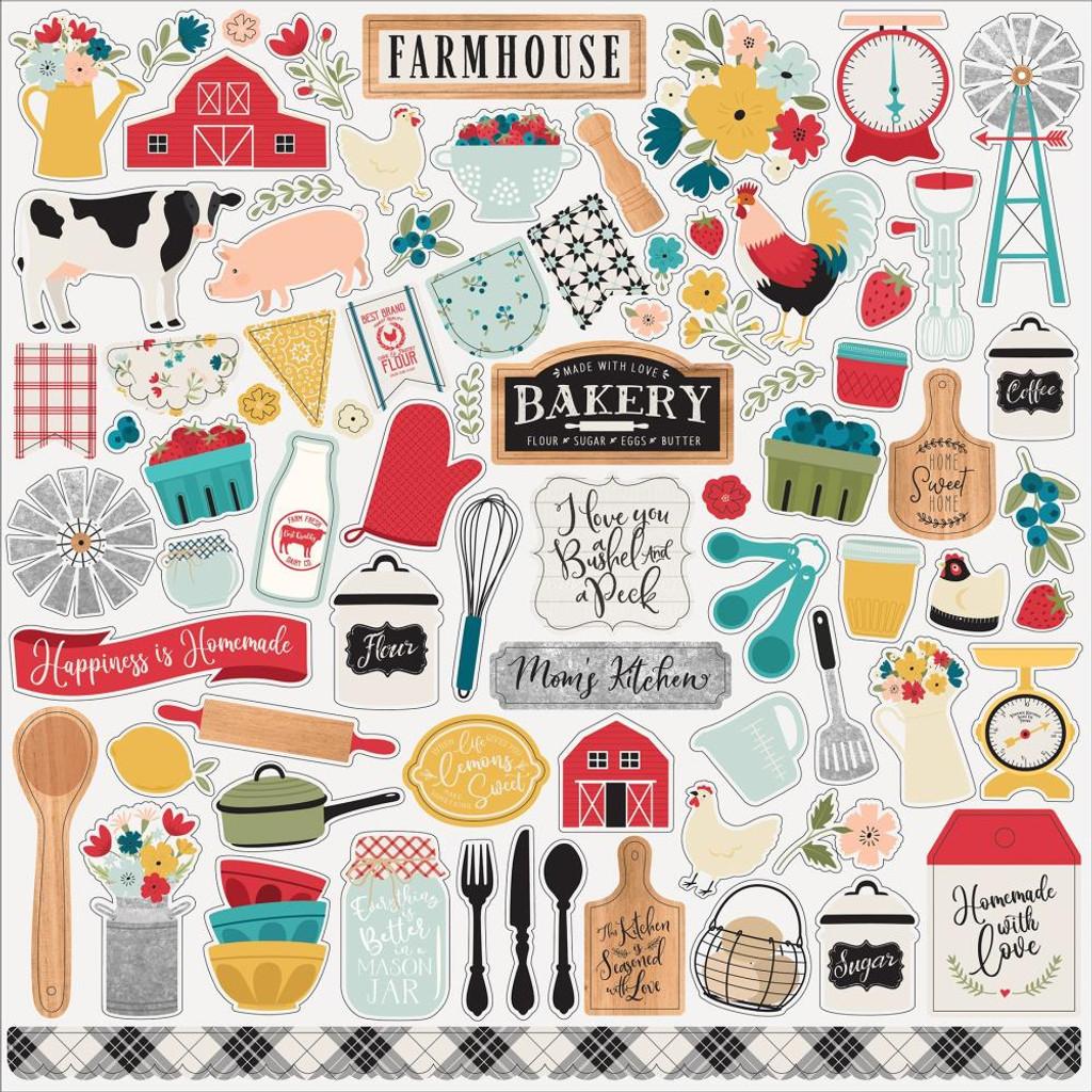 Echo Park - Cardstock Element Stickers 12x12 - Farmhouse Kitchen (FK216014)