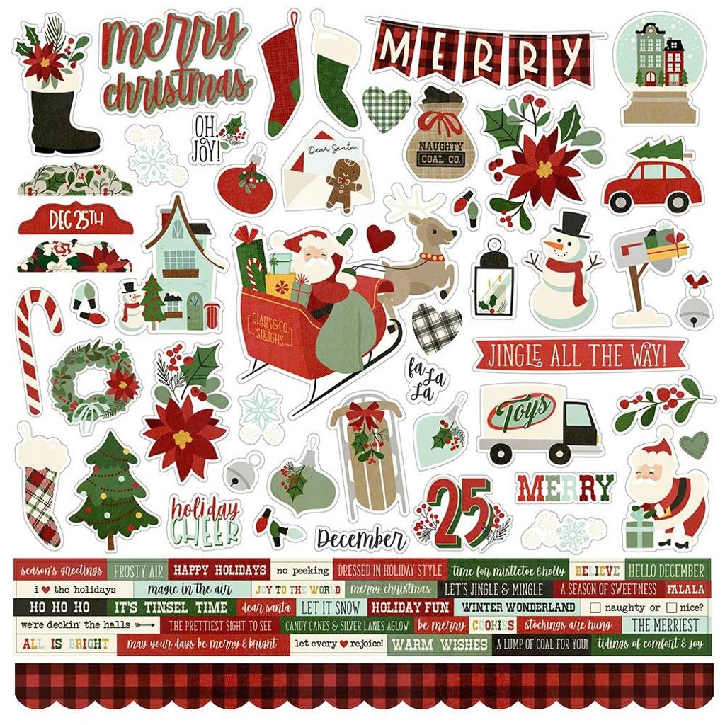 Simple Stories - Element Sticker Sheet 12x12- Jingle All The Way (JGL13701)