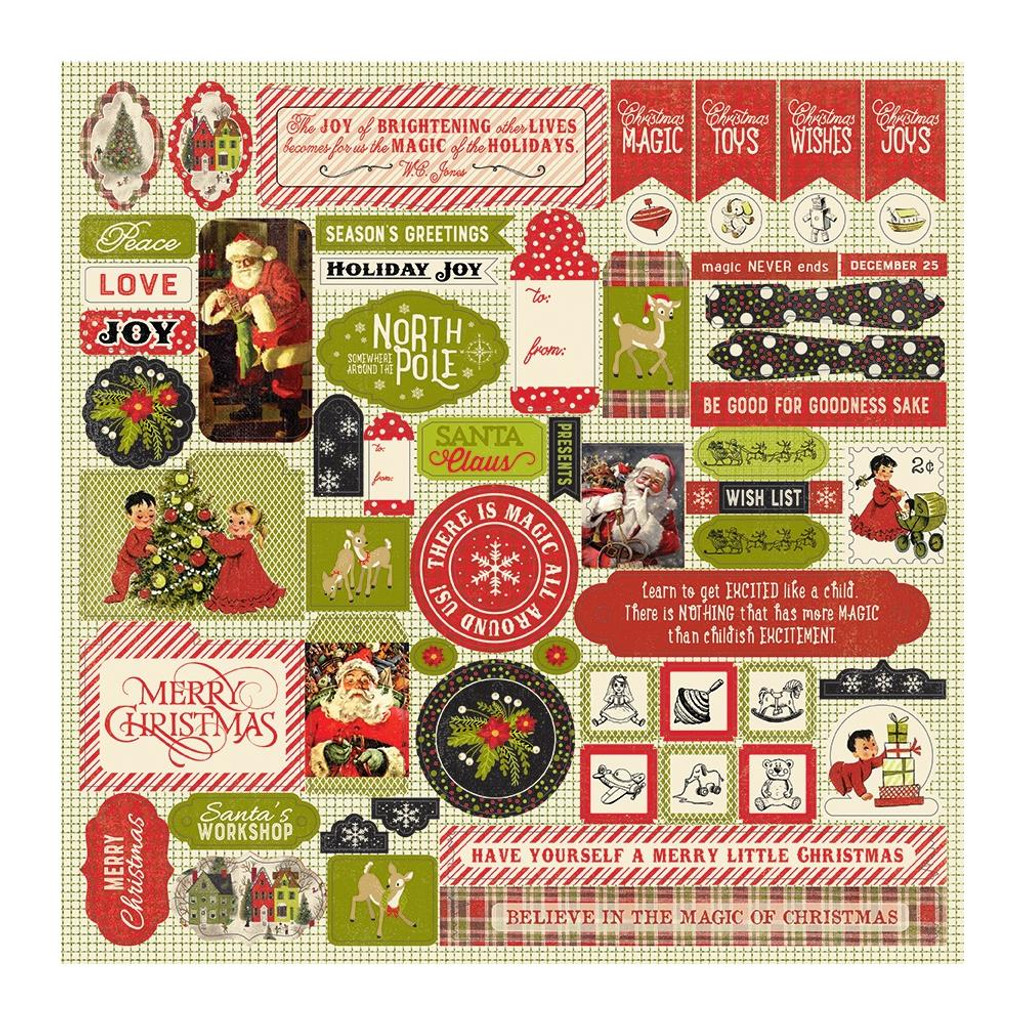 """Authentique - Cardstock Stickers 12""""X12"""" - A Magical Christmas (AMC009)"""