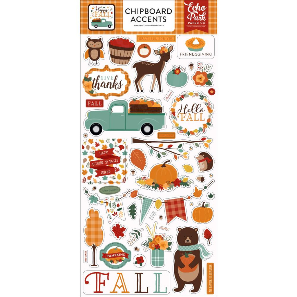 Echo Park - Chipboard Sticker 6x12 - Happy Fall - Accents (AP219021)