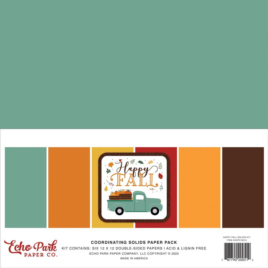 "Echo Park - Double-Sided Solid Cardstock 12""x12"" - Happy Fall (AP219015)"