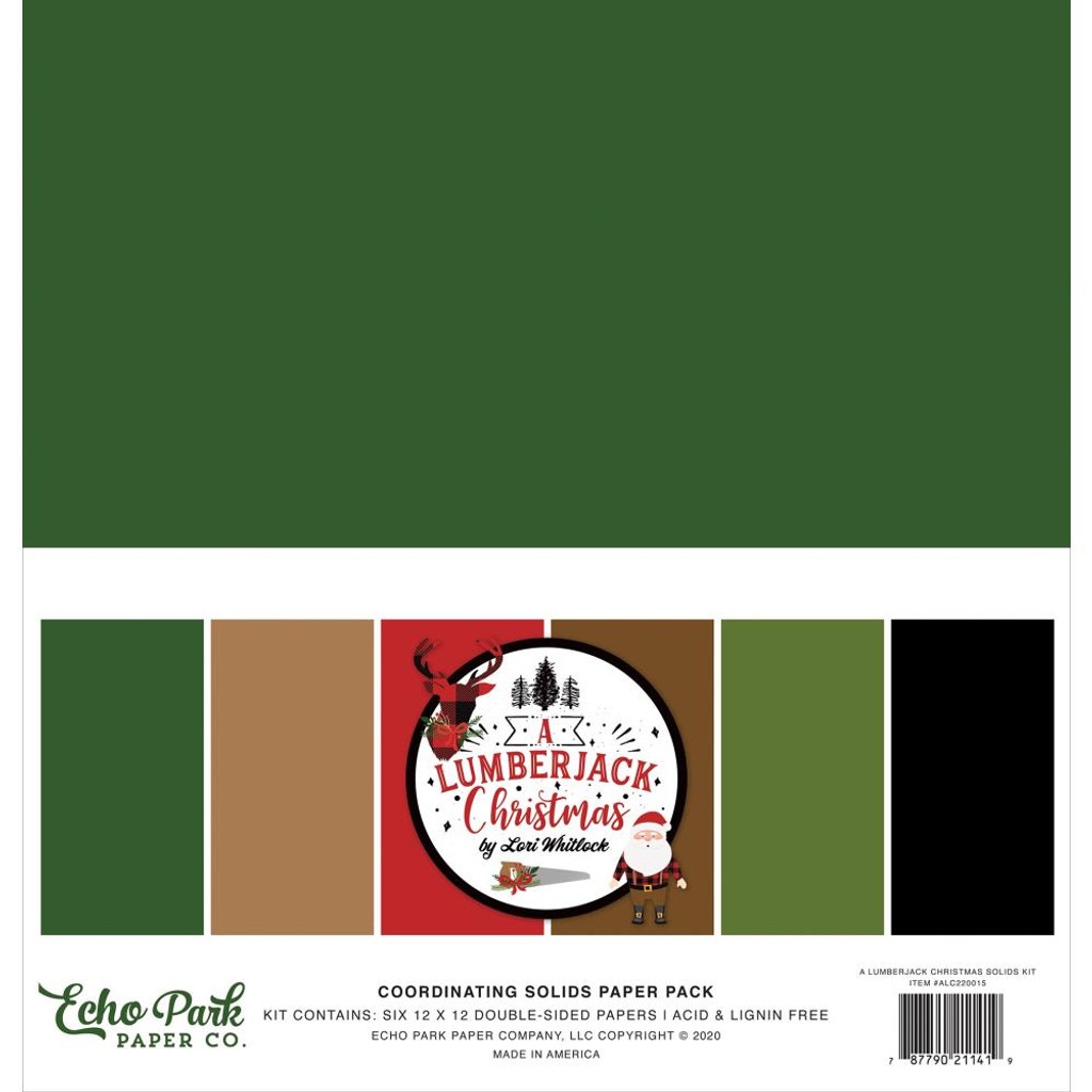 Echo Park - Double-Sided Solid Cardstock 12x12 - A Lumberjack Christmas (LC220015)