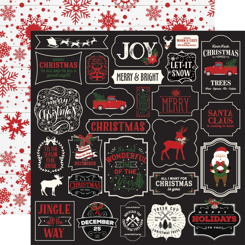 Echo Park - Double-Sided Cardstock 12x12 - A Lumberjack Christmas - Jingle All The Way (ALC220)