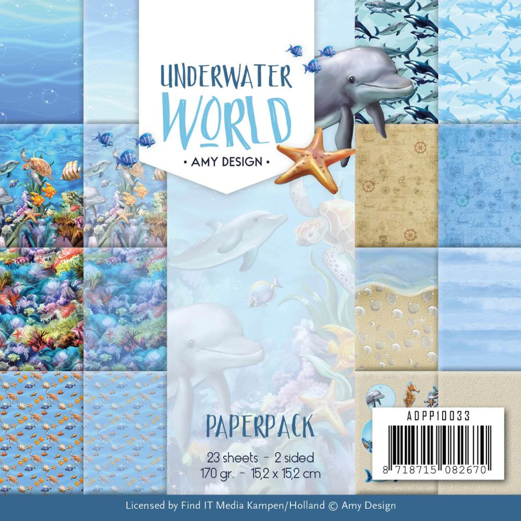 "Find It Trading - Amy Design - Double Sided Paper Pack 6""X6"" 23/Pkg - Underwater World (APP10033)"