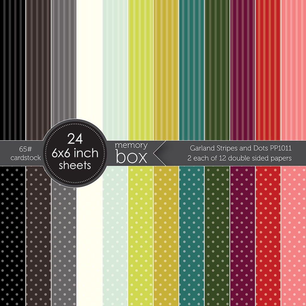 "Memory Box Paper Pad 6""X6"" 24/Pkg - Garland Stripes and Dots (PP1011)"
