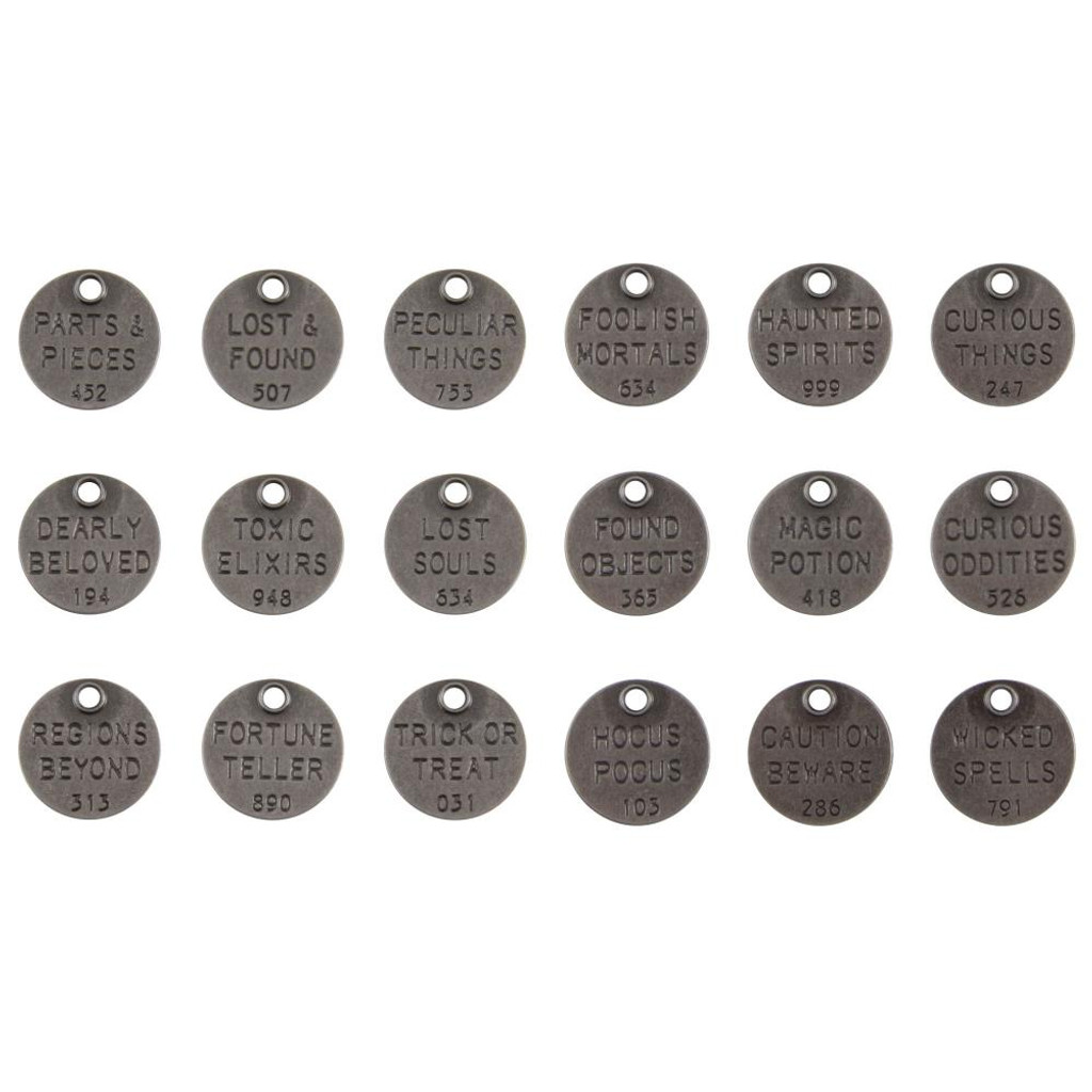 Tim Holtz - Idea-ology - Metal Quote Tokens 18/Pkg - Halloween 2020 (TH94064)