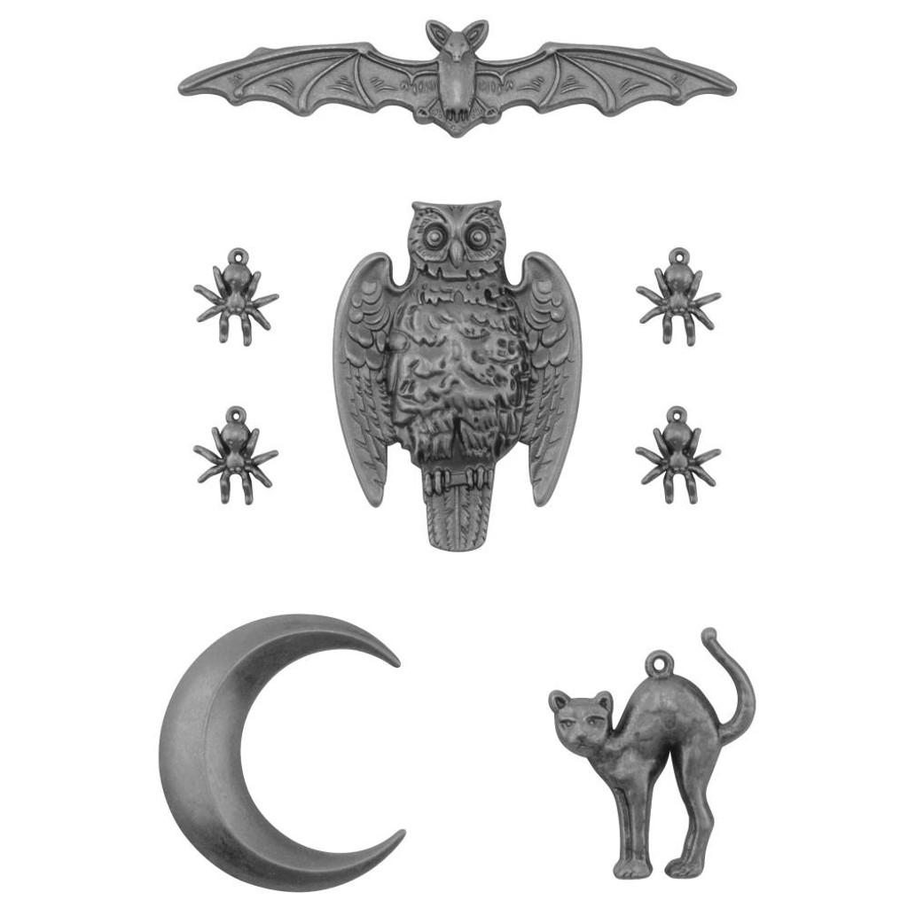 Tim Holtz - Idea-ology - Metal Adornments - Antique Silver 8/Pkg - Halloween 2020 (TH94065)
