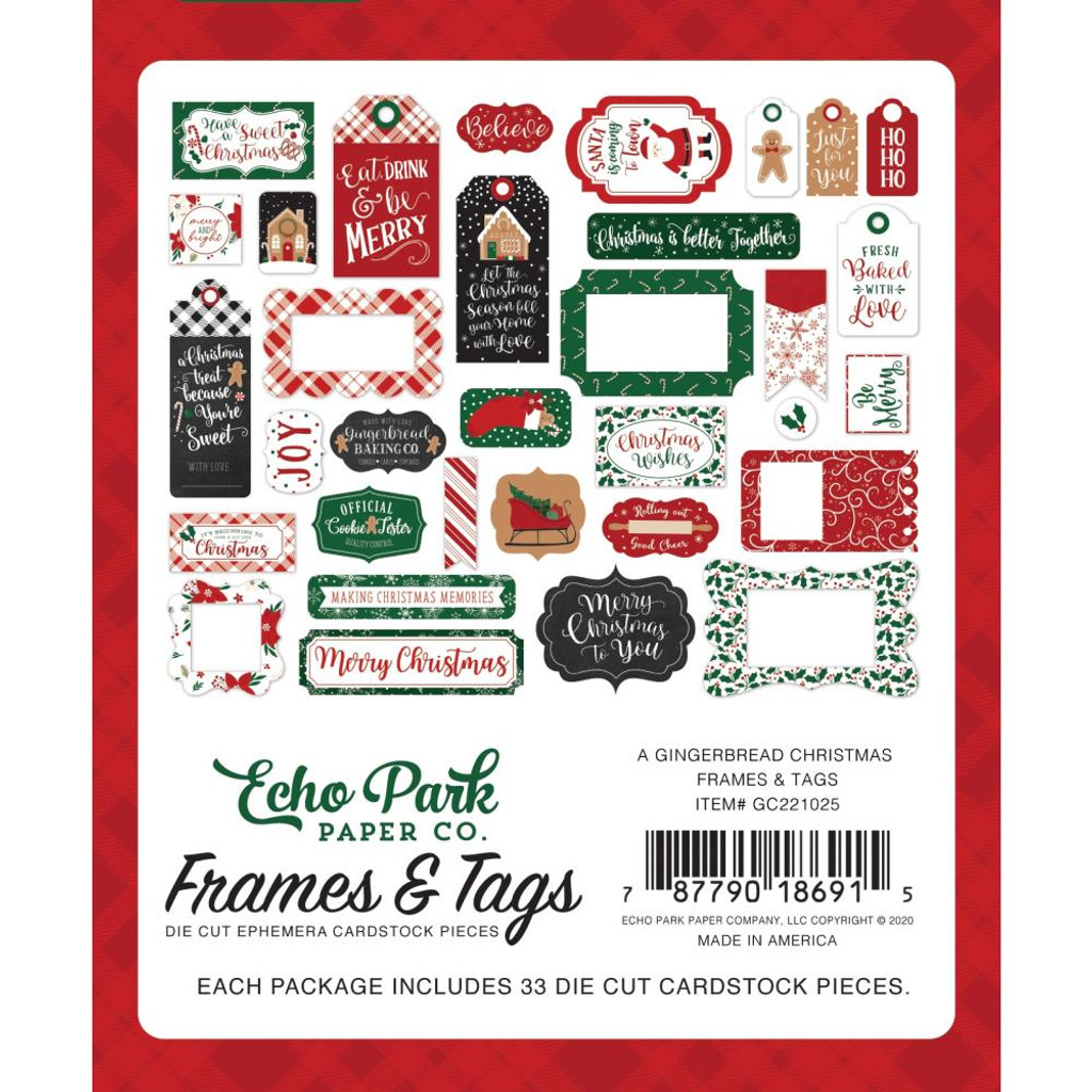 Echo Park - Cardstock Frames and Tags 33/Pkg - A Gingerbread Christmas (GC221025)