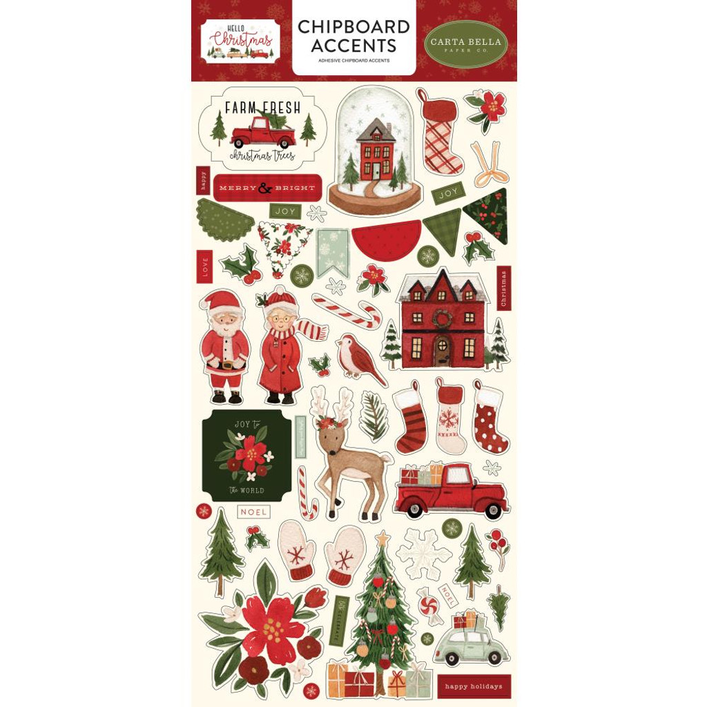 "Carta Bella - Chipboard Accents 6""X13""- Hello Christmas (HC124021)"