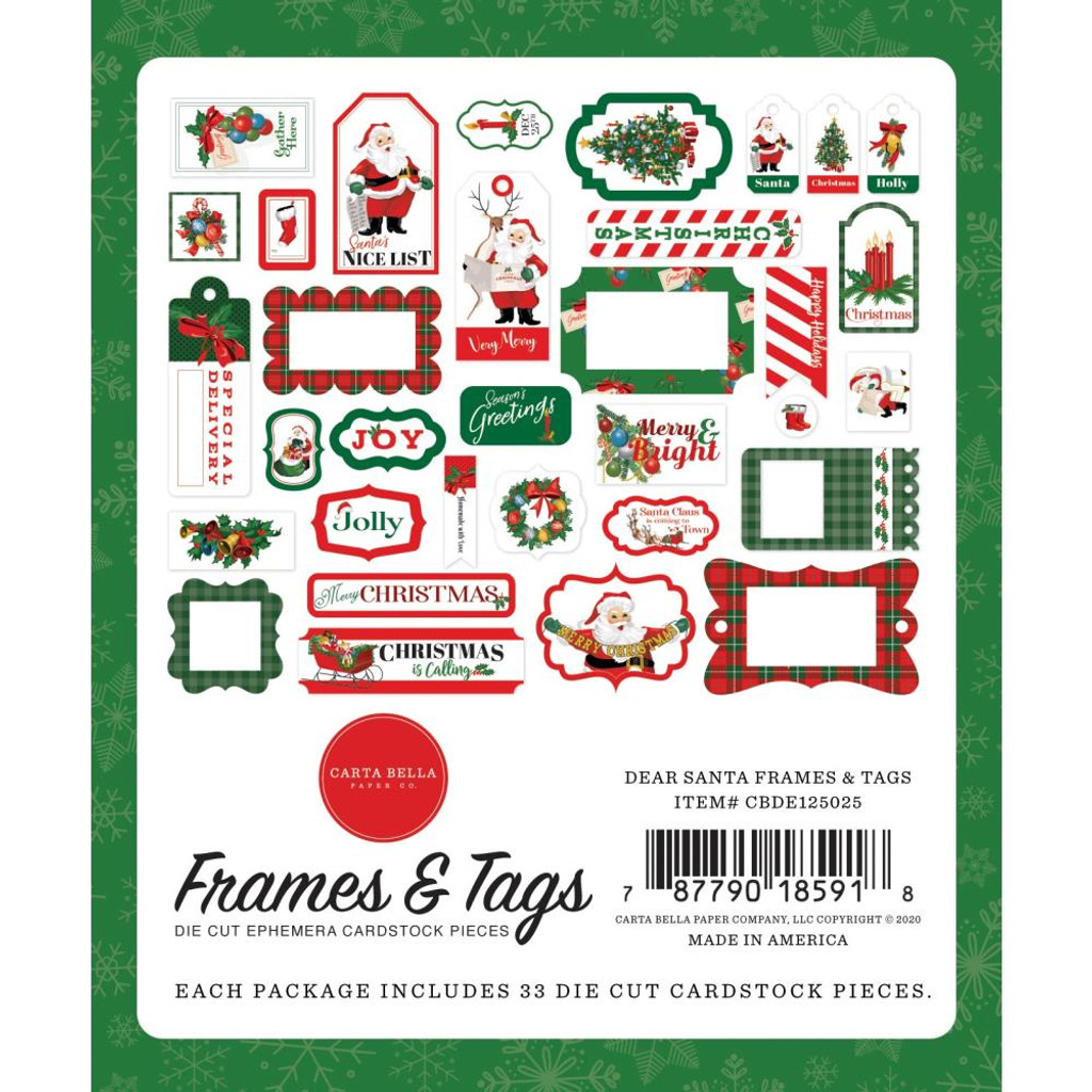 Carta Bella - Cardstock Frames and Tags 33/Pkg - Dear Santa (DE125025)