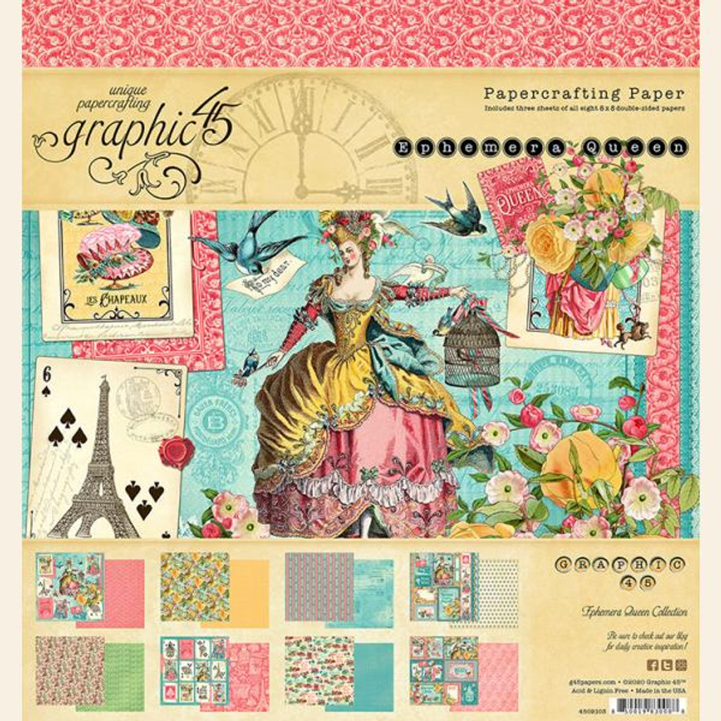 "Graphic 45 - Double-Sided Paper Pad 8""X8"" 24/Pkg - Ephemera Queen (4502103)"