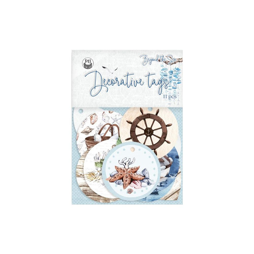 P13 - Double-Sided Cardstock Tags 11/Pkg - Beyond The Sea - #01 (P13SEA21)