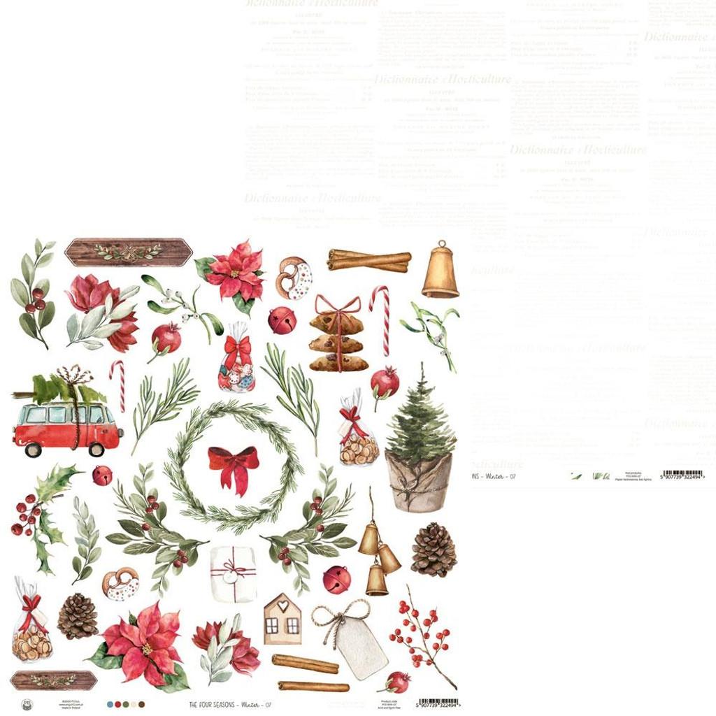 P13 - Double-Sided Cardstock 12x12 - The Four Seasons - Winter - #07 Ephemera Sheet (P13WIN07)