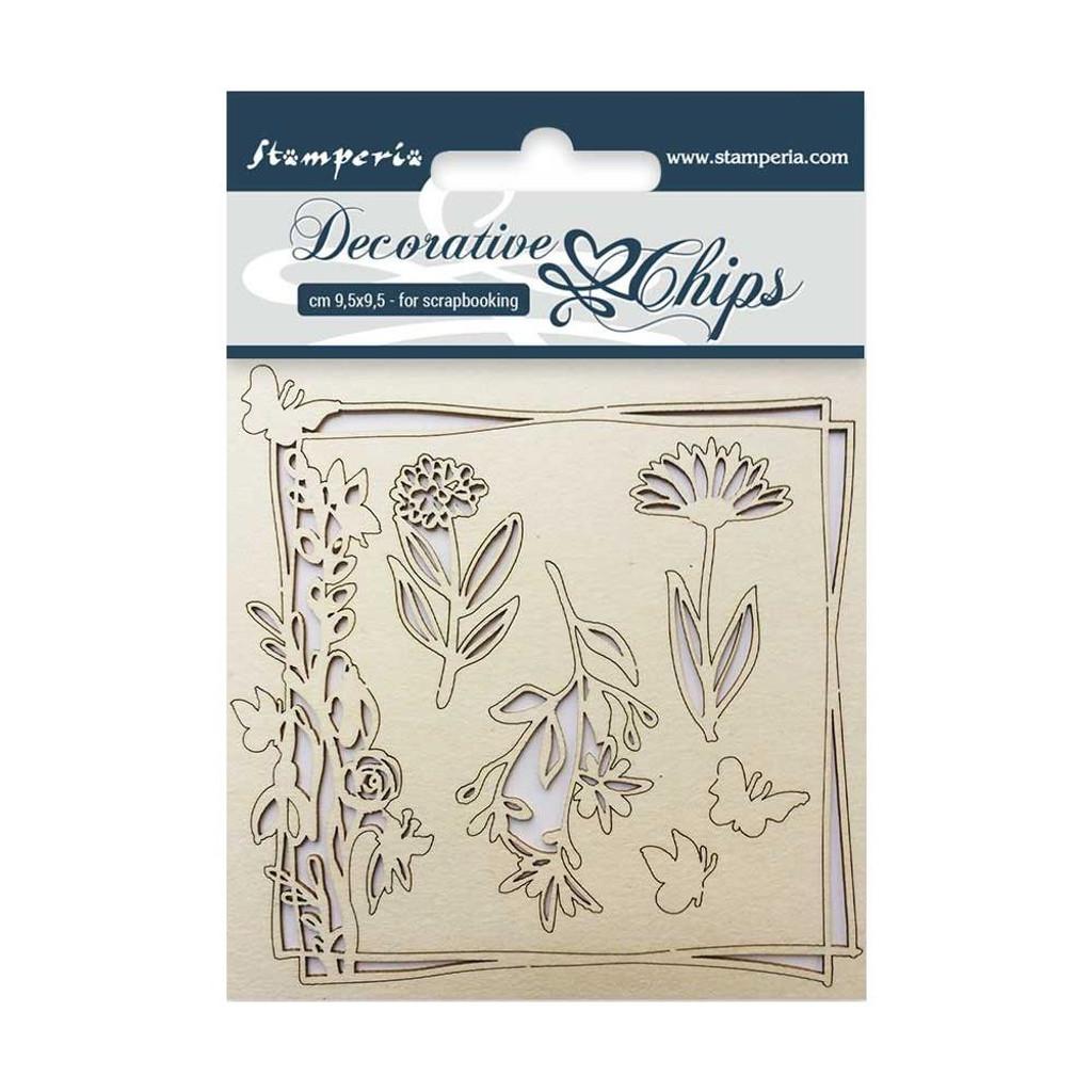 """Stamperia - Decorative Chips 3.75""""X3.75"""" - Flower & Butterfly (SCB3.5 - 01)"""