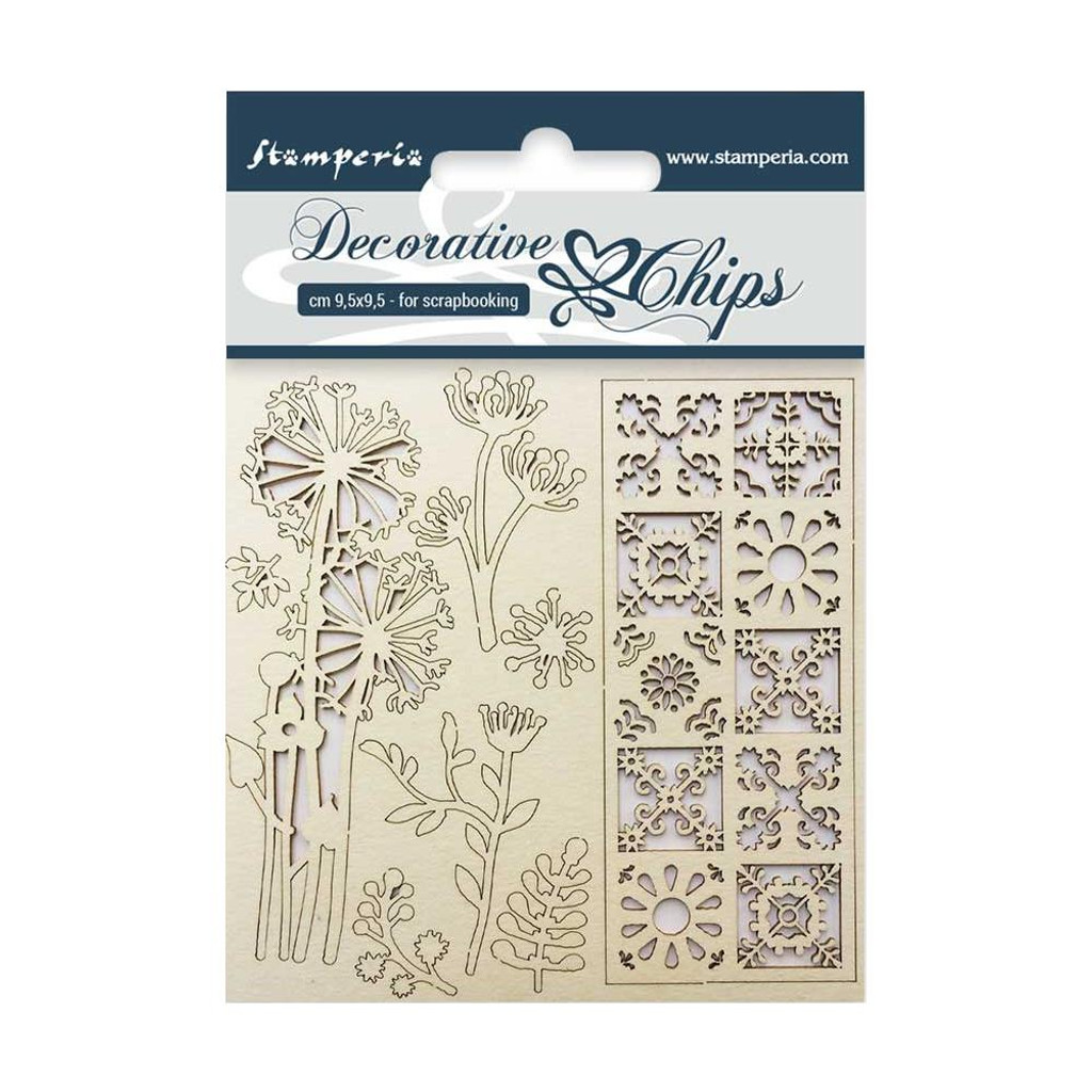 """Stamperia - Decorative Chips 3.75""""X3.75"""" - Flowers & Tile (SCB3.5 02)"""