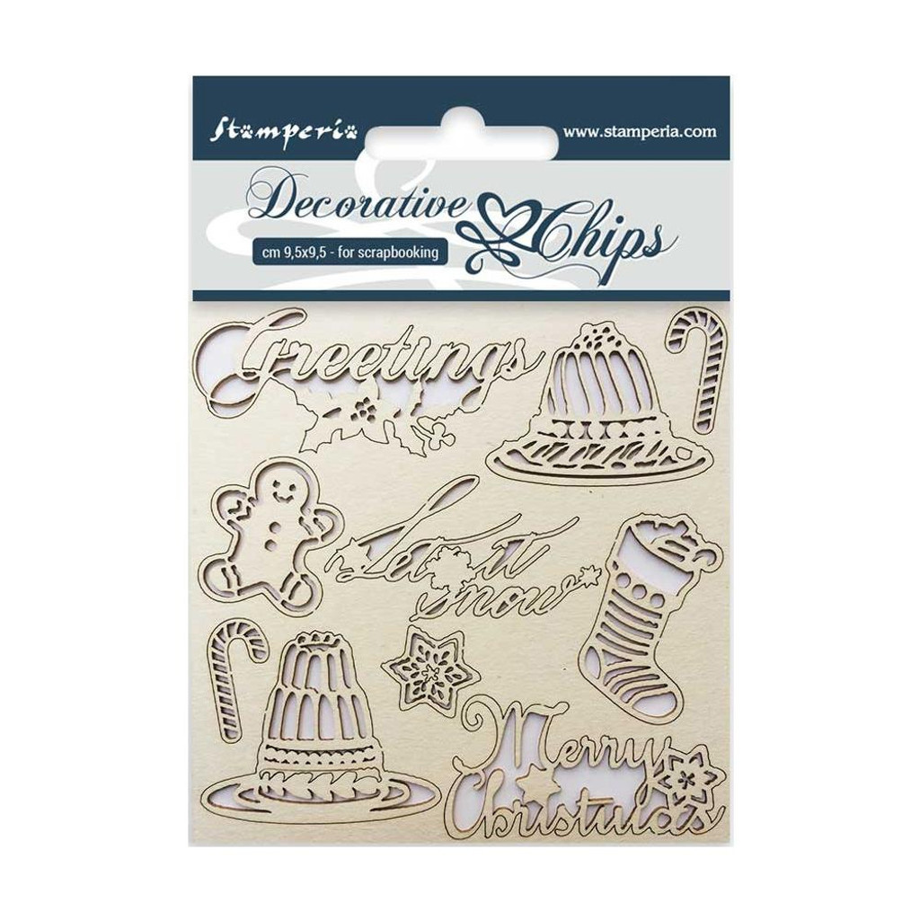 """Stamperia - Decorative Chips 3.75""""X3.75"""" - Classic Christmas (SCB3.5 05)"""