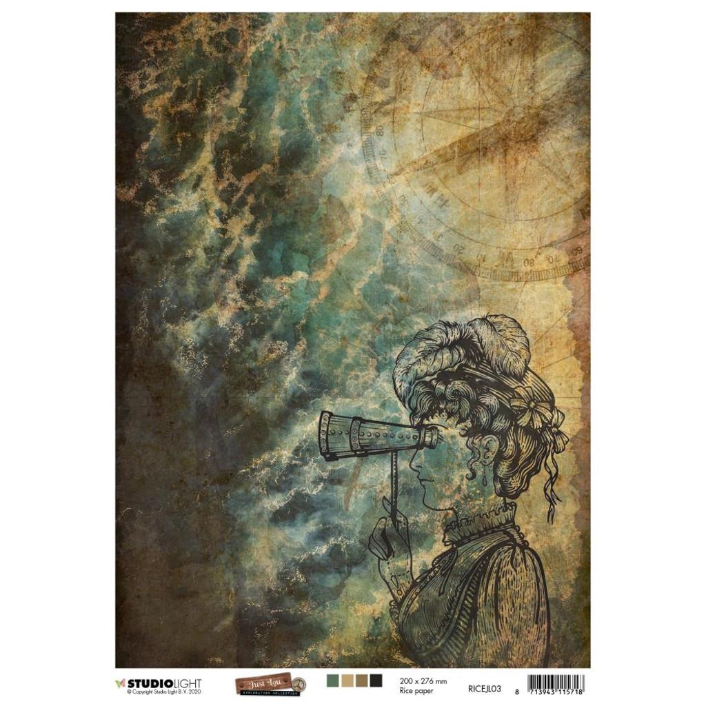 Studio Light - Just Lou Exploration - Decoupage Rice Paper A4 - NR 03 (RICEJL03)