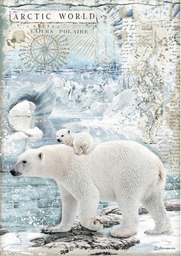 Stamperia - Decoupage Rice Paper A4 8.26x11.69 - Arctic World Polar Bears (DFSA4478)