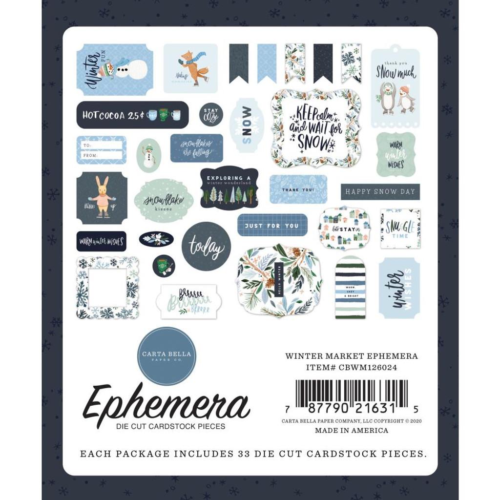 Carta Bella - Cardstock Ephemera 33/Pkg - Winter Market (WM126024 )
