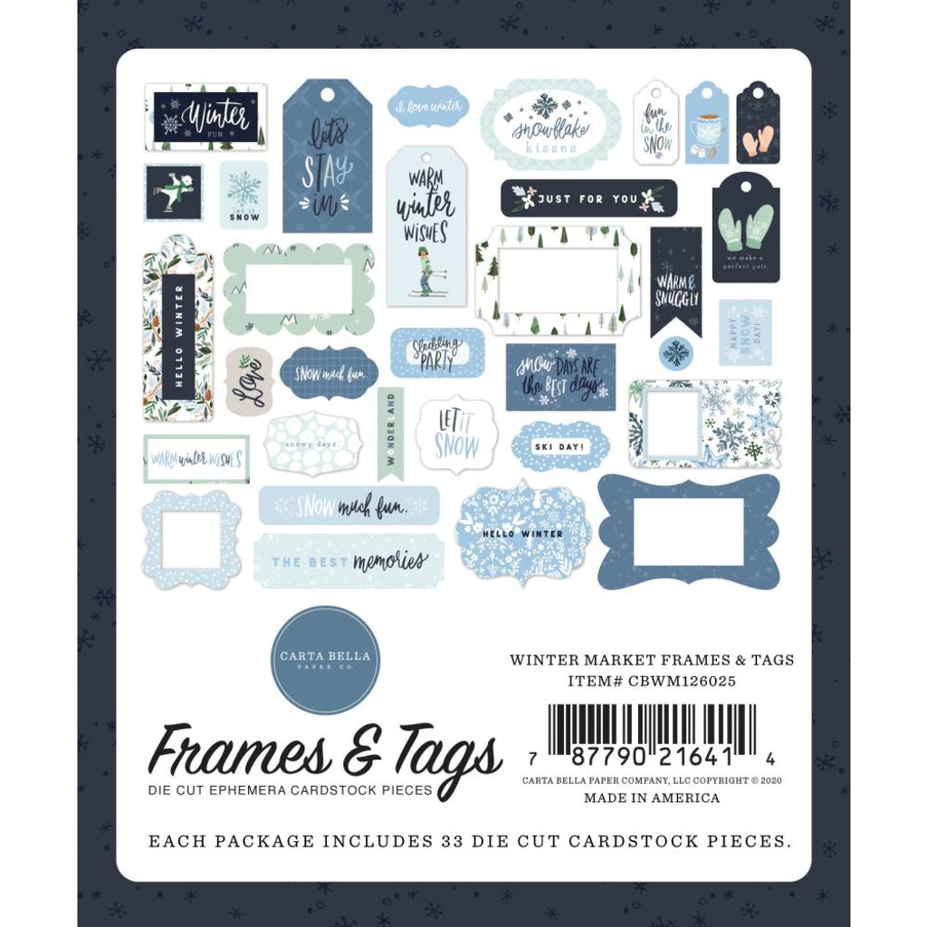 Carta Bella - Cardstock Frames and Tags 33/Pkg - Winter Market (WM126025)