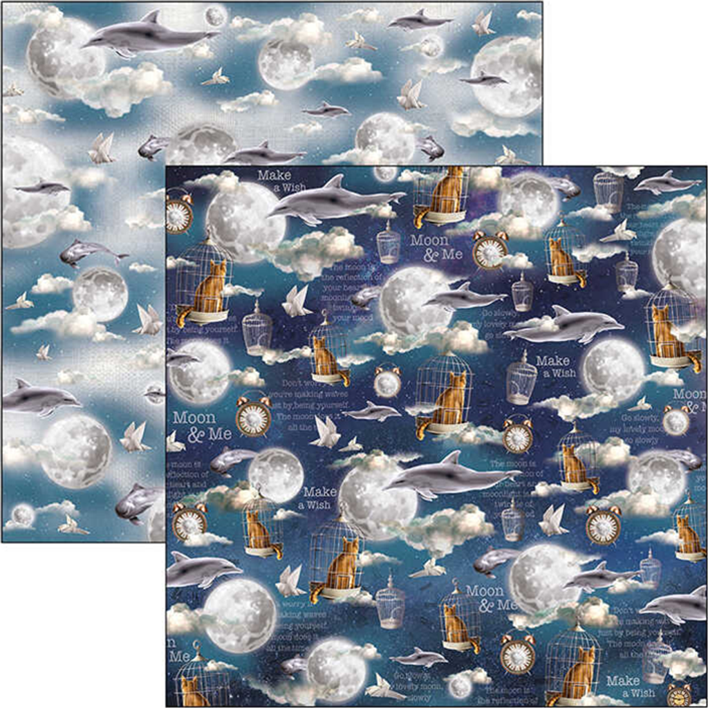 """Ciao Bella - Double-Sided Patterns Pad 12""""X12"""" 8/Pkg - Moon & Me (CBT040)"""