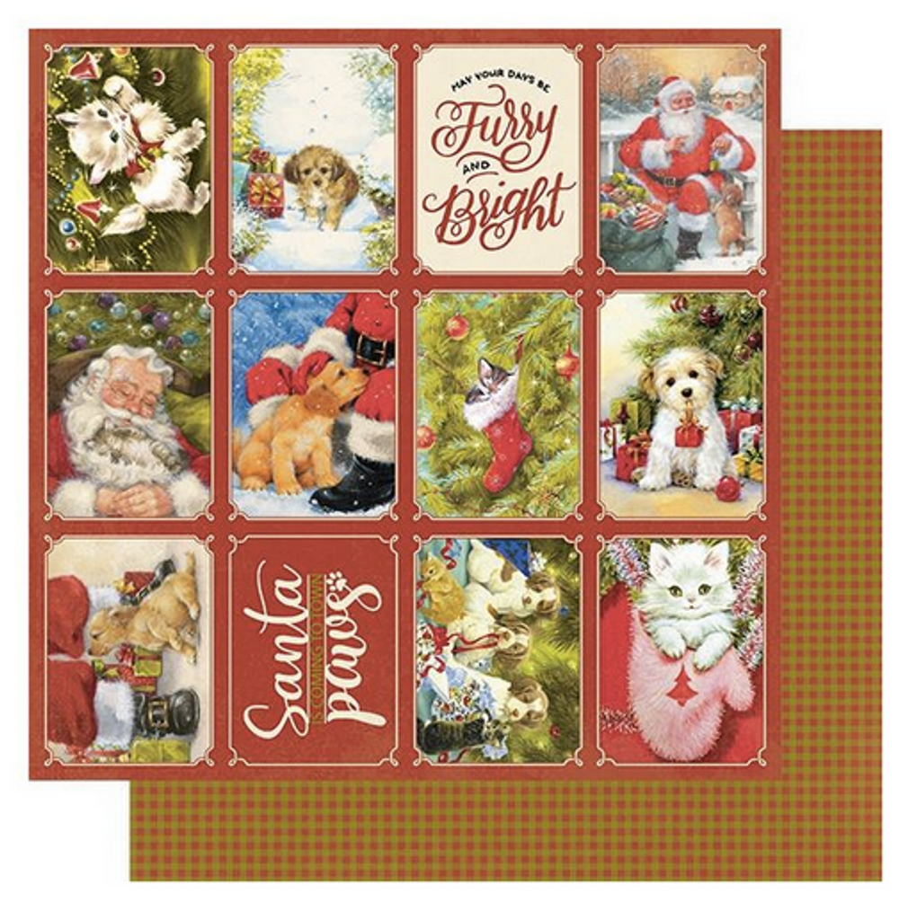 """Authentique - Double-Sided Cardstock 12""""X12"""" - Christmas Greetings - #1 Holiday Dogs & Cats (CMG12 001)"""