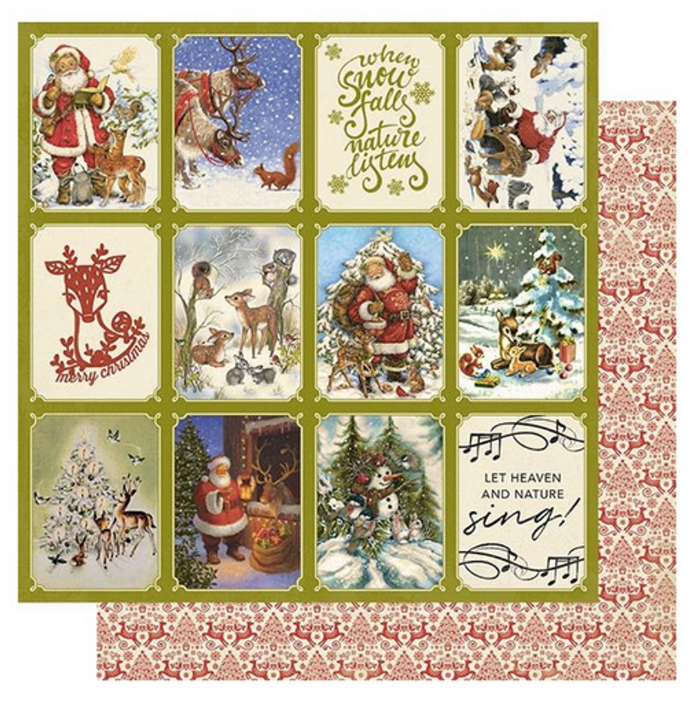 """Authentique - Double-Sided Cardstock 12""""X12"""" - Christmas Greetings - #2 Reindeer (CMG12 002)"""