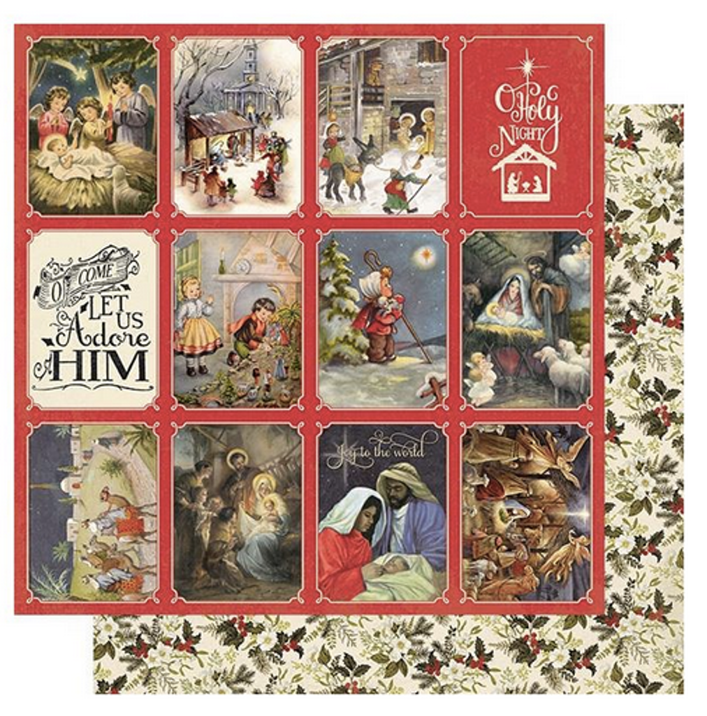 """Authentique - Double-Sided Cardstock 12""""X12"""" - Christmas Greetings - #4 Nativity Scenes (CMG12 004)"""