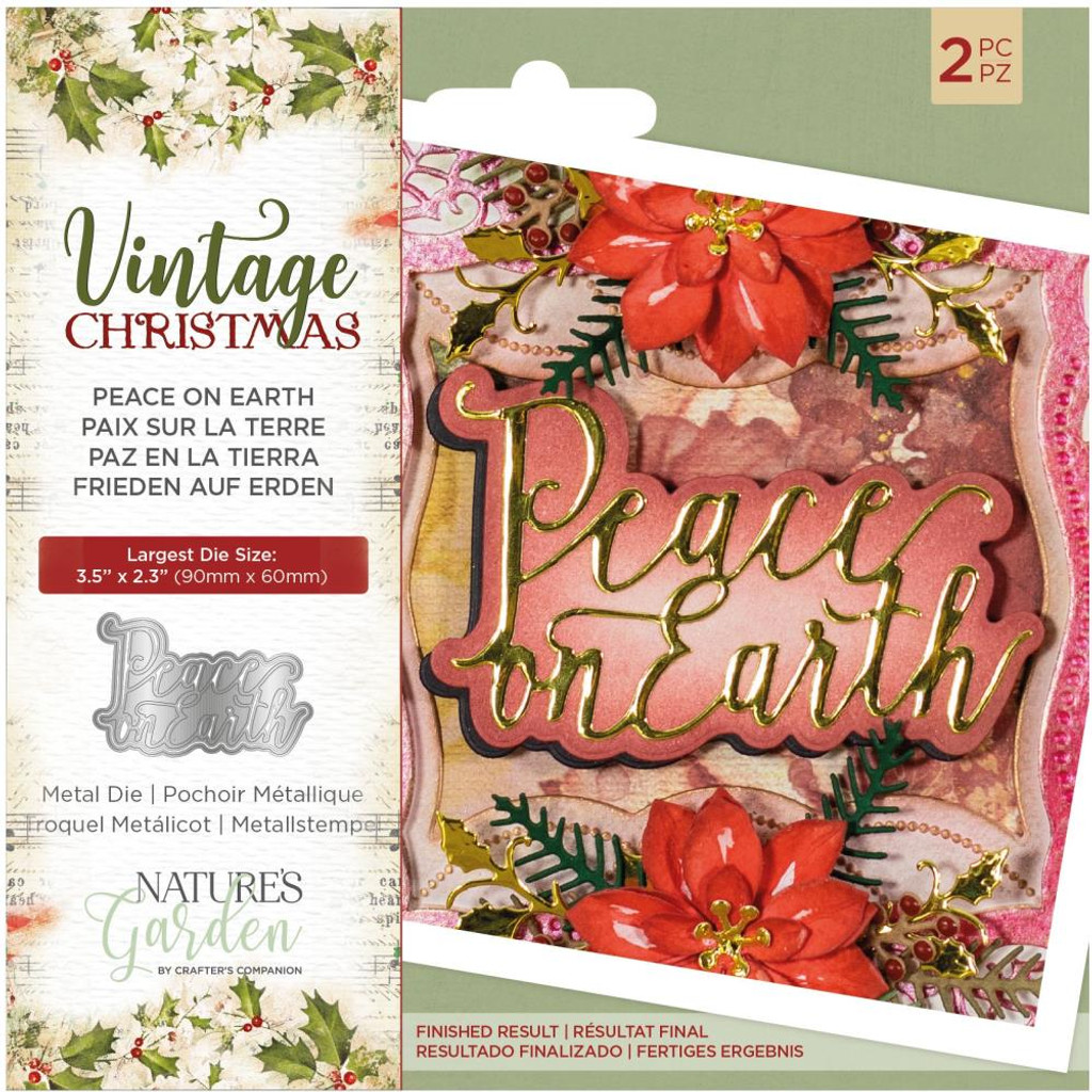 Crafter's Companion - Metal Die - Nature's Garden - Vintage Christmas - Peace on Earth (NMDPOE)
