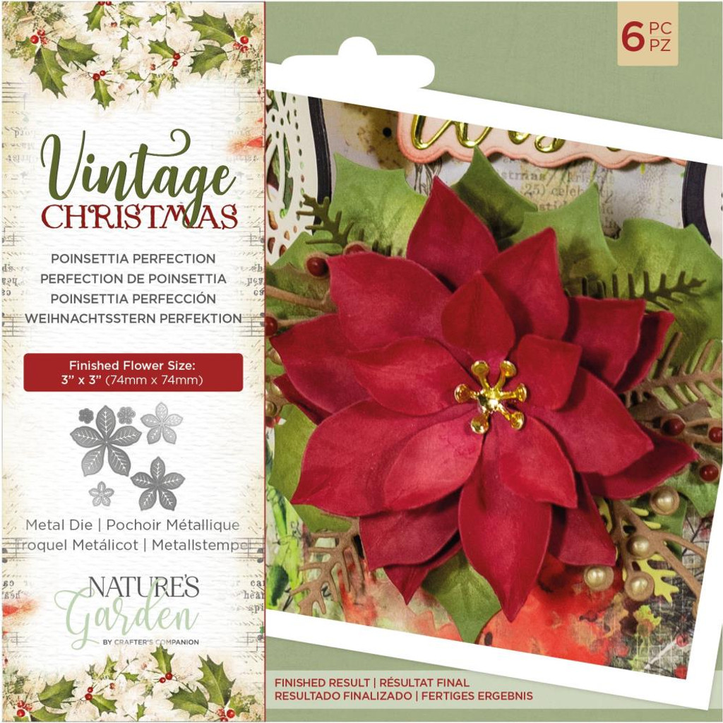 Crafter's Companion - Metal Die - Nature's Garden - Vintage Christmas - Poinsettia Perfection (NMDPPERF)