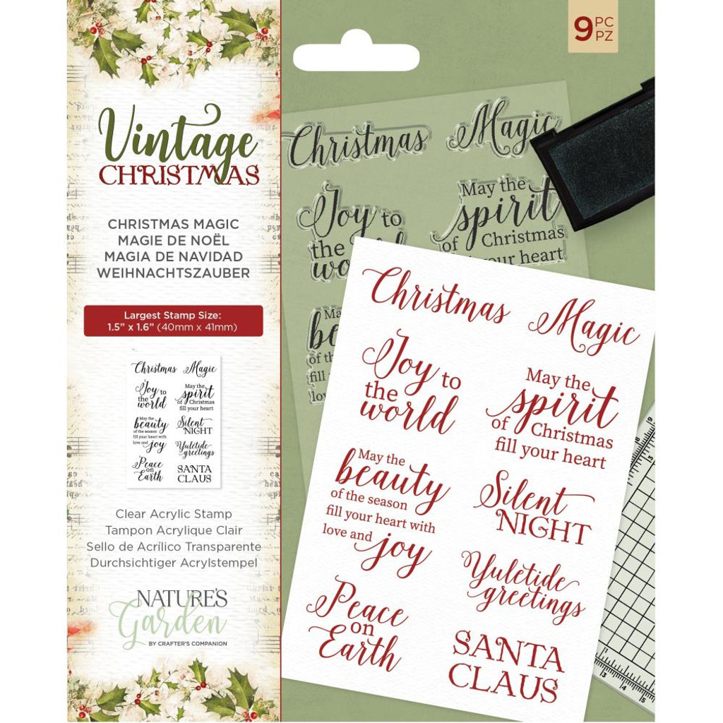Crafter's Companion - Nature's Garden - Vintage Christmas Clear Stamps - Christmas Magic (NSTCMAG)