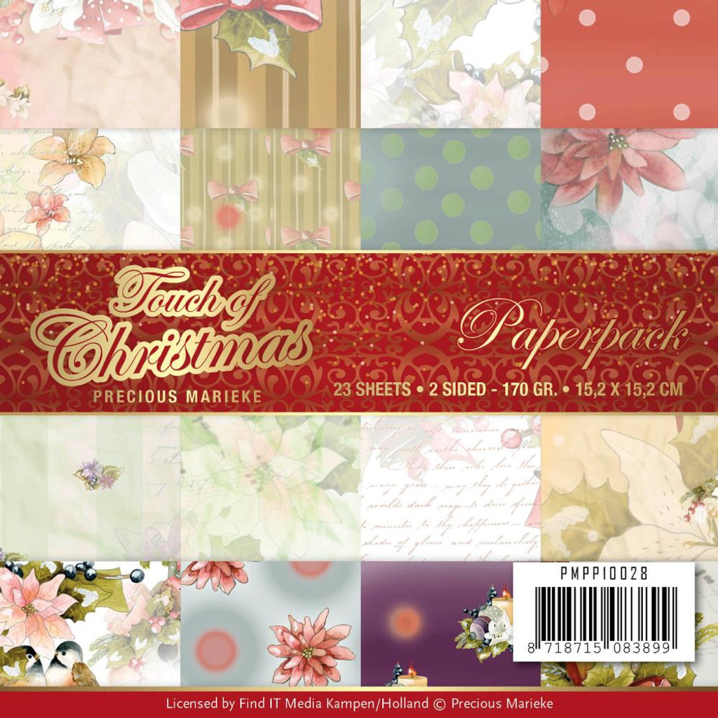"""Find It Trading - Precious Marieke - Double Sided Paper Pack 6""""X6"""" 23/Pkg - Touch Of Christmas (PP10028)"""