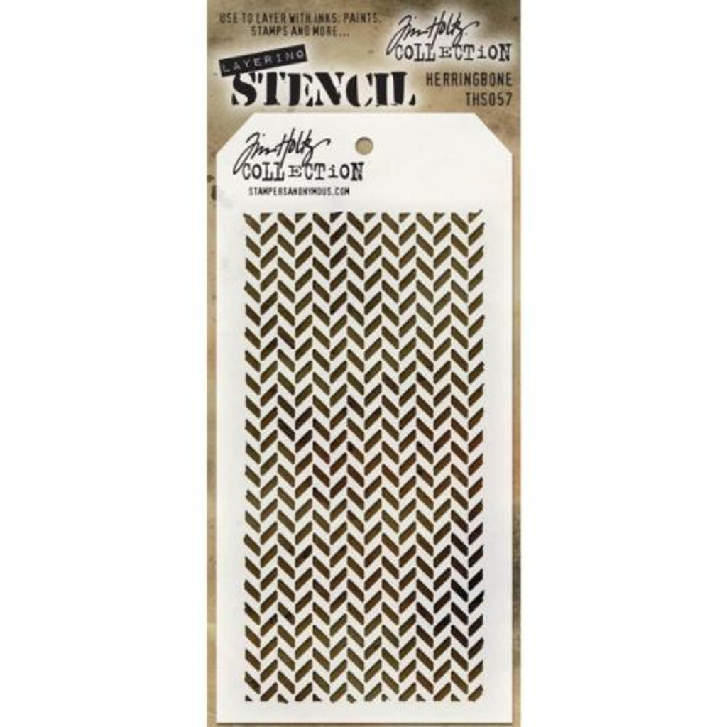 Tim Holtz - Layering Stencil Herringbone - Stampers Anonymous
