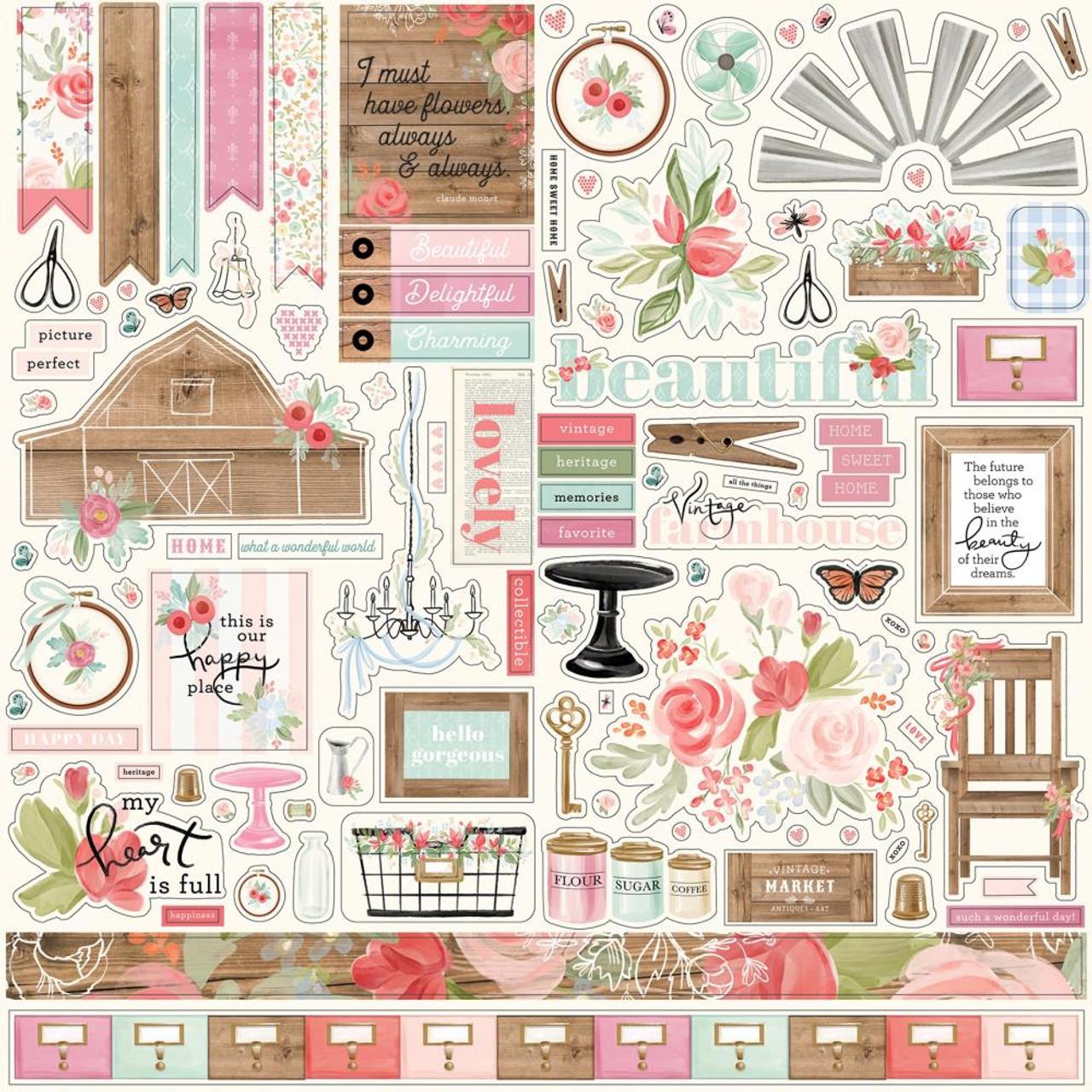 "Carta Bella /'FARMHOUSE MARKET/' 12x12/"" Cardstock Sticker Sheet Floral Scrapbook"