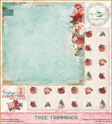Blue Fern Studios - Vintage Christmas 2 - 12x12 dbl sided paper - Tree Trimmings (BFVC2 142475)