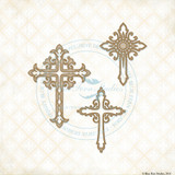 Blue Fern Studios - Chipboard - Ornate Crosses (993410)