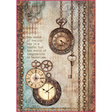 Stamperia - Clockwise Clock & Keys - Decoupage Rice Paper 8.25 x 11.5 (DFSA4288)