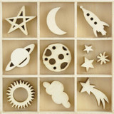 Kaisercraft - Flourish Wooden Pack - Star & Moon - 55 pcs (FL625)