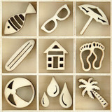 Kaisercraft - Flourish Wooden Pack - Summertime - 55 pcs (FL612)