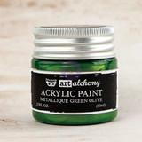 Prima Finnabair Acrylic Paint Metallique Green Olive