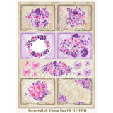 Lemon Craft - Violet Silence - Decorative paper - Cut-apart Tags & Images - Vintage Time 018  LP-VT018