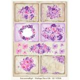 Lemon Craft - Violet Silence - Decorative paper - Cut-apart Tags & Images - Vintage Time 018  LP-VT018
