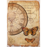 Stamperia - Mixed Media Clock & Butterfly - Decoupage Rice Paper 8.25 x 11.5 DFSA4241