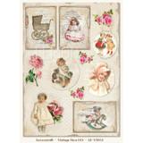 Lemon Craft - Decorative paper - Cut-apart Tags & Images - Vintage Time 003  LP-VT003