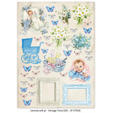 Lemon Craft - Lullaby - Decorative paper - Cut-apart Baby Boy Images - Vintage Time 026 (LP-VT026)